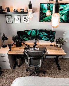 Workspace Desk, Desk Setup, Desk Space, Home Office Desks, Gaming Setup, Desk Inspo, Wooden Table Top, Room Set, Natural Wood