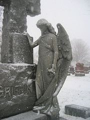 cold angel on a snowy day in the city of the dead...