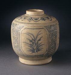 Faceted Jar with Vegetal Sprays and Floral Petals Vietnam, 1450-1550 Wheel-thrown stoneware with cream slip, underglaze blue painted decoration, and clear glaze Height: 4 in. (10.16 cm); Diameter: 3 3/4 in. (9.53 cm) LACMA, Gift of Ambassador and Mrs. Edward E. Masters (M.84.213.239)