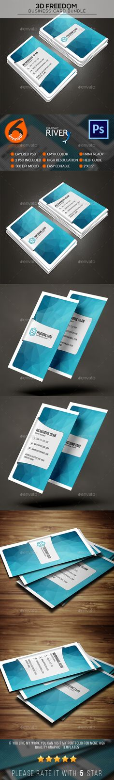 3D Freedom Business Card Design Template - Business Cards Print Template PSD. Download here: https://graphicriver.net/item/3d-freedom-business-card/17042849?s_rank=228&ref=yinkira