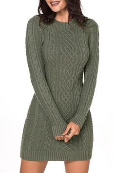 391d6be5eb5 Army Green Slouchy Cable Mini Sweater Dress