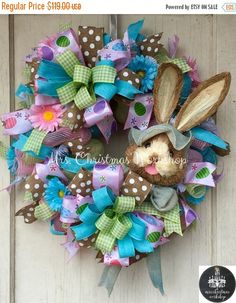 Hey, I found this really awesome Etsy listing at https://www.etsy.com/listing/265612556/on-sale-15-off-deco-mesh-wreath-easter