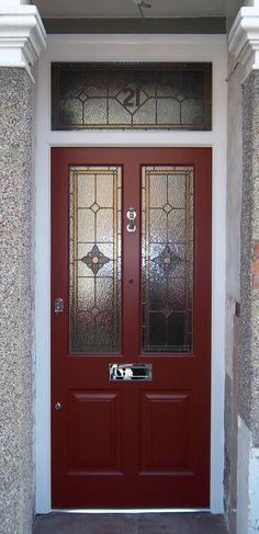 - Victorian Front Door Red Stained Glass 29 Trendy Ideas Victorian Front Door Re - Stained Glass Cookies, Stained Glass Door, Stained Glass Ornaments, Stained Glass Christmas, Stained Glass Designs, Exterior Wall Panels, Exterior Front Doors, Entrance Doors, House Front Door
