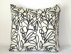 White & Black Modern 18 inch Decorative Pillow Accent Pillow Throw Pillow Cushion Cover - from PatsTable on Etsy