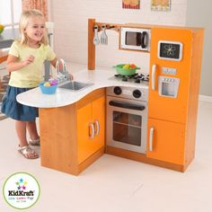 Kidkraft KidKraft Limited Edition Orange and Honey Kitchen 00192 - Toys & Games - Pretend Play & Dress Up - Kitchen & Housekeeping Playsets Kitchen Sets For Kids, Kids Play Kitchen, Toy Kitchen, Kitchen Decor, Kitchen Ideas, Kitchen Images, Kitchen Pictures, Sink Countertop, Countertops