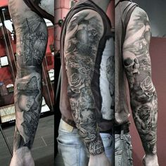 Manly Nautical Full Arm Sleeve Tattoo Designs For Men