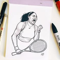 #inktober Day 20: Serena Williams > Greatest female tennis player of all time.  She is an American professional tennis player. Williams is the first tennis player to win 23 Grand Slam singles titles in the Open Era. The Women's Tennis Association (WTA) has ranked her world No. 1 in singles on eight occasions.     #inktober #inktober2017 #ink #drawing #illustration #wonderwomen #serenawilliams #tennis #tennisplayer #womenstennis #grandslam Tennis Drawing, Tennis Association, Professional Tennis Players, Tennis Players Female, Her World, Serena Williams, Women In History, Inktober, All About Time