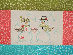 Snowman Embroidery DIY (scroll way down to get pattern).... http://auribuzz.wordpress.com/2012/02/01/february-aurifil-designer-of-the-month-sherri-falls/