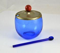 Cobalt Blue Glass Mustard Jar w/ SPOON! Red Wood Knob Handle on Lid - Depression Glass