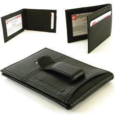 Alpine Swiss Men's Genuine Leather Flip-Fold Money Clip Front Pocket Wallet - RFID Blocking Options Available Slim Front Pocket Wallet, Men Store, Branded Wallets, Money Clip Wallet, Leather Men, Briefcases, Leather Wallets, Presents, Window