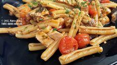 Caserecce al pesce spada - Un appetitoso piatto di caserecce al pesce spada, con condimento a base di melanzane e pomodoro ciliegino.