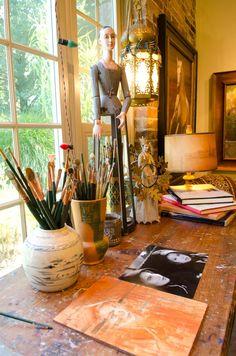 - Southwest Art Magazine I love the doll in the brushes. Home Art Studios, Art Studio At Home, Artist Studios, Art Studio Design, Art Studio Organization, Atelier D Art, Home Goods Decor, Painting Studio, Southwest Art