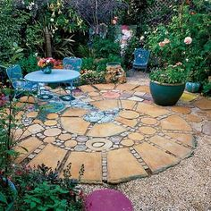 Eclectic Patio with exterior stone floors, Pathway, Fence