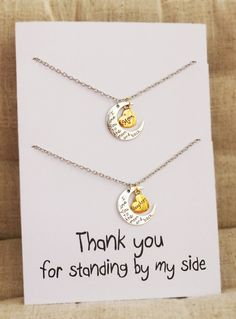 Love you to the moon and back Alloy Pendant Necklace Best Friends Special gift. Personal card for a special gift. Perfect for birthday, holiday