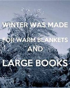 Winter was made for warm blankets and large books. http://www.pinterest.com/lilyslibrary/
