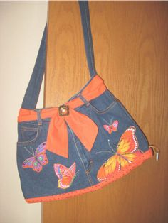 bolso jeans con detalles apliques naranjas