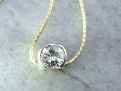 Simply, Classy, Beautiful Vintage Diamond Slide Necklace, Gold, Contemporary Two Tone Bezel Setting