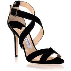 Jimmy Choo Lottie Black Suede Sandal ❤ liked on Polyvore (see more black stiletto)