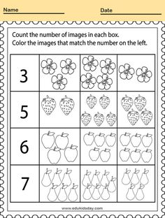 Free Printable Kindergarten Math Worksheets - Counting Number for Kids  #KindergartenMathWorksheets Printable Numbers Worksheet for Kindergarten #worksheets #printableworksheets #kids #education #kindergarten #worksheetsforkindergarten #freeprintableworksheets