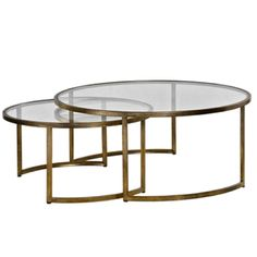 Chintz & Company - Decorative Furnishings - Coffee Table Rhea Nest Set2 42in Round 18H Bronze/Glass Nest, Bronze, Coffee, Glass, Table, Furniture, Home Decor, Nest Box, Kaffee