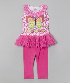 Look what I found on #zulily! Pink Butterfly Tutu Tunic  Leggings - Infant, Toddler  Girls #zulilyfinds