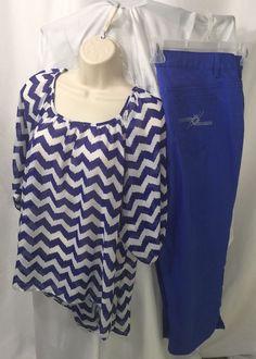 b97d2bc2477d10 Ladies Plus Size Chevron Royal Blue Top XL With Jean Pants Size 18 Lot |  eBay