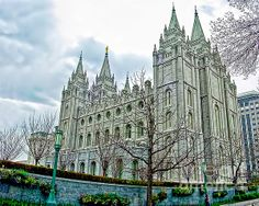 The Mormon Temple stands in the center of Temple Square in downtown Salt Lake City, Utah, on an overcast Spring day in 2002. Non-members like me may not enter the Temple, but the serene, perfectly maintained beauty of the building and its surrounding grounds are well worth a visit. Immediately behind the Temple, but out of the view to the right, is the more famous Mormon Tabernacle, which is open to the public.