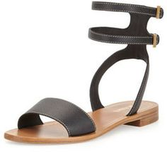 Prada Saffiano Double-Buckle City Sandal, Black