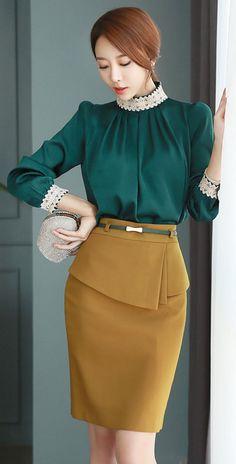 Verde oliva satinado & falda mostaza