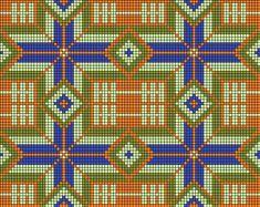 Орнамент перуанской сумки, het patroon heeft 92 steken, 2x op bodem van 184 steken