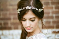 we love this simple and elegant headpiece, a little bling goes a long way in wedding hairstyles. Read more about our suggestions for wedding hair on our Blog   Marisa Nicole Events