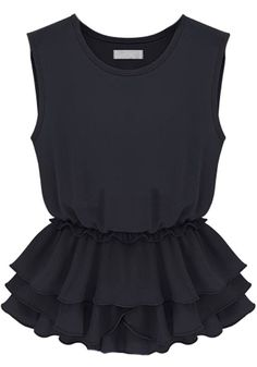 Black Tired Ruffles Round Neck Sleeveless Chiffon Blouse