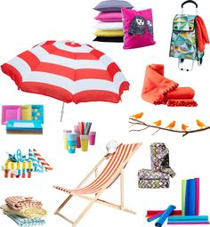 IKEA   Collage of summer accessories, such as beach umbrella, paper plates, cushions, beach chair, blankets and rugs