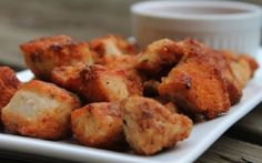 Paleo ChikFilA Nuggets Ingredients: 2 large boneless, skinless chicken breasts 1-2 cups of pickle juice (enough to submerge the chicken breast) paprika onion powder garlic powder salt and ground black pepper 1/2 cup tapioca flour 1/4 cup coconut oil