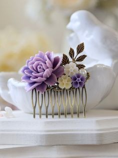 Lavender Purple and Ivory Flowers Brass Leaf Hair Comb by LeChaim, $26.50
