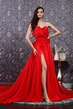 goddess red slit gown