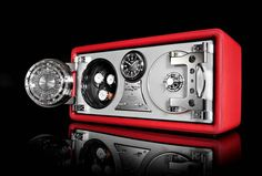 """Döttling Colosimo Double Wing - Inspired by the 1954 Mercedes-Benz 300 SL """"Gullwing"""", this new safe from specialist Dottling features a Wempe Zeitmeister clock in the center of the two compartments - www.doettling.com ..."""