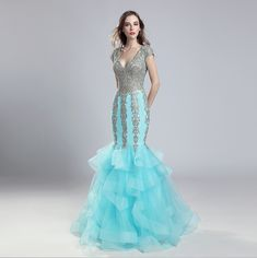 Luxury Long Mermaid Evening Dress Tulle V Neck Embroidered Ruffle Tiered Party Gowns Beading Formal Robe De Soiree Women Gown Party Wear, Party Gowns, Mermaid Evening Dresses, Evening Gowns, Prom Desses, Ruffles, Homecoming Dresses, Bridesmaid Dresses, Dinner Gowns