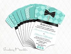 Tiffany & Co Inspired BASIC BOY Onesie Baby Shower Invitations - 8 choices -Set of 25 PRINTED with envelopes    The Bowtie is part of the