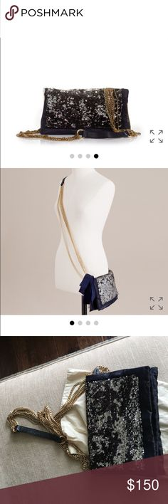 Jcrew Galaxy purse Super fun crossbody purse! Perfect for any party!!! Front exterior zip pocket. Sold out instantly! Cotton twill lining. Part of J.Crew Collection. I removed the big bow that was attached to it; looks much better, trust me! J. Crew Bags Crossbody Bags