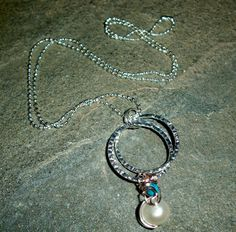 Fresh Water Pearl and Turquoise Wire Wrapped by moonknightjewels, $15.00