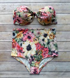 Sexy Strapless Floral Print High-Waisted Women's Bikini Set