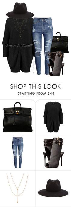 """Untitled #3059"" by stylebydnicole ❤ liked on Polyvore featuring Hermès, American Vintage, H&M, Giuseppe Zanotti, Jennifer Zeuner and rag & bone"