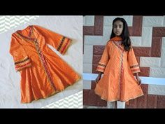 Angrakha Kurti Cutting and Stitching For 10 years girl Baby Frock Pattern, Frock Patterns, Baby Dresses, Girls Dresses, Girls Kurti, 10 Years Girl, Girls Frock Design, Kurti Sleeves Design, Pakistani Dresses Casual