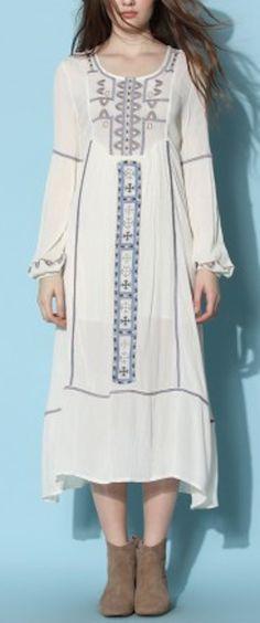 cute bohemian embroidered maxi dress