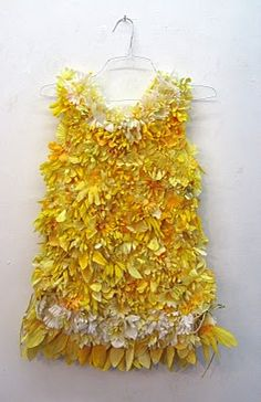 dress from recycled fake flowers