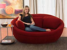 small sofa in red color for space saving living room design
