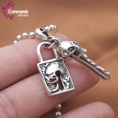 Hot new item just added today New Arrivals Neck.... Click here http://everythingskull.com/products/new-arrivals-necklaces-pendants-925-sterling-silver-jewelry-retro-thai-silver-red-eye-skull-head-key-lock-couple?utm_campaign=social_autopilot&utm_source=pin&utm_medium=pin take a closer look.