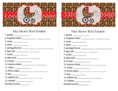 instant download sweet leopard baby shower game word scramble pdf file red
