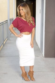 White Pencil Midi Skirt - Dress Ala